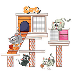 Kittens playing on cat condo vector
