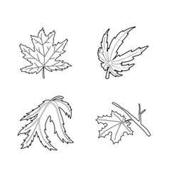 leaf icon set outline style vector image