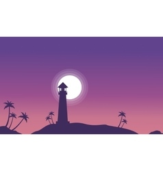 Lighthouse and moon scenery at night silhouettes vector