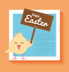 Little chick easter with wooden label character vector