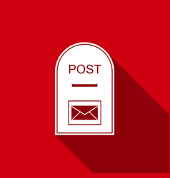 Mail box icon post box icon with long shadow vector