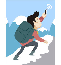 man hiking seeking phone signal vector image