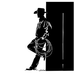 man with cowboy hat and lasso digital sketch hand vector image