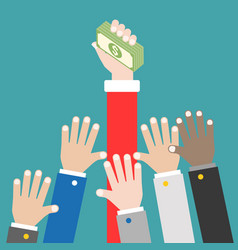 many hands try to grab money compete concept vector image