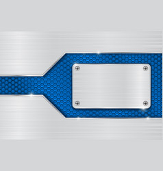 metal brushed background with blue perforated vector image