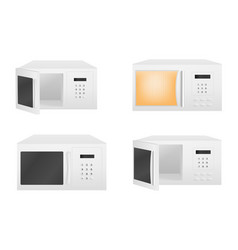 microwave icons set realistic style vector image