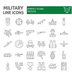 Military thin line icon set army symbols vector