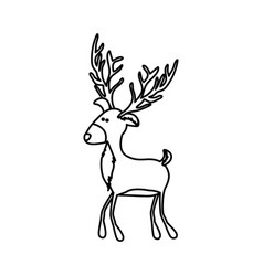 Monochrome contour of funny reindeer walking vector