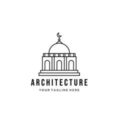 Mosque line art minimalist logo template design vector