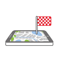 Navigation gps device and city map with finish vector