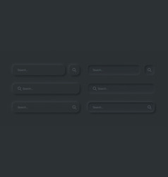 Neumorphic search bars dark ui design elements set vector
