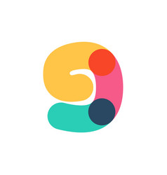 Overlapping one line number nine logotype vector
