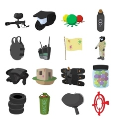 Paintball game cartoon icons set vector image