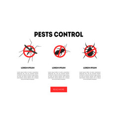 Pest control landing page template harmful vector