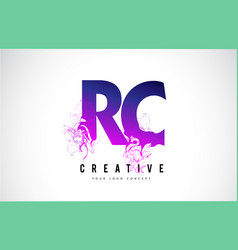 rc r c purple letter logo design with liquid vector image