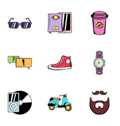 Rest icons set cartoon style vector