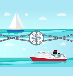 Sailboat and ship with ropes vector