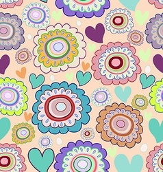 seamless pattern of doodle flowers vector image