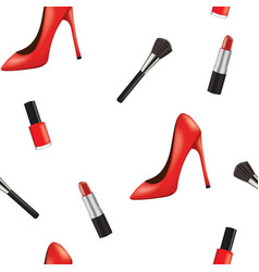 seamless pattern with woman shoe and makeup vector image