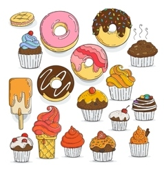 Set candy and muffins icons cakes sweets vector