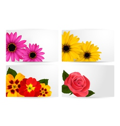 Set of gift cards with different colorful flower vector image vector image