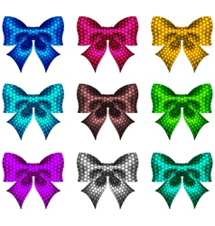 Set of textured bows vector