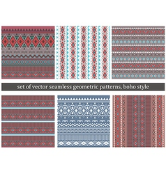 Set of Tribal Boho Seamless Patterns vector