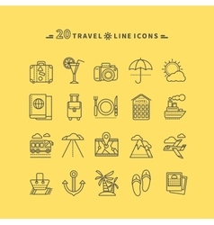 set outline travel icons vector image