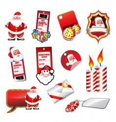 Set various christmas elements vector