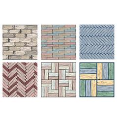 set wood floor tiles pattern seamless texture vector image