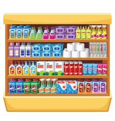 Shelfs with household chemicals vector