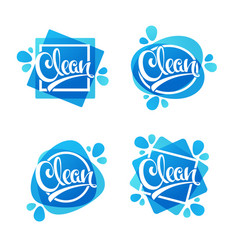 Shiny and glossy clean lettering logo label or vector