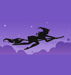silhouette of a rapid witch flying on a broomstick vector image