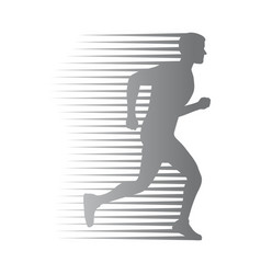 silhouette of isolated man run with moving lines vector image