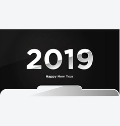 silver happy new year 2019 text design background vector image