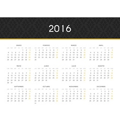Simple modern calendar 2016 in Spanish Ready for vector image