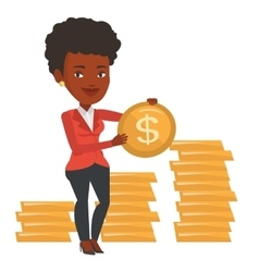 Successful businesswoman with dollar coin vector