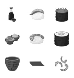 Sushi set icons in monochrome style Big vector