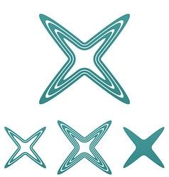 Teal line reject logo design set vector