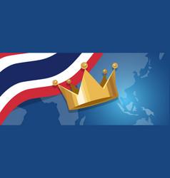 Thailand king monarchy crown royal kingdom flag vector