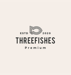 three fish line outline hipster vintage logo icon vector image