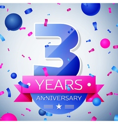 Three years anniversary celebration on grey vector image
