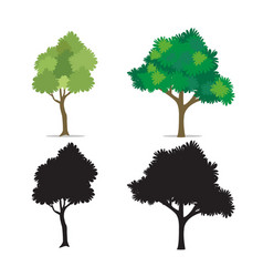 Tree set isolated white vector