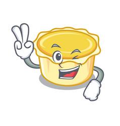 Two finger egg tart character cartoon vector