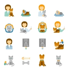 Veterinary clinic practice flat icons set vector