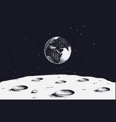 view from surface of the moon to earth vector image