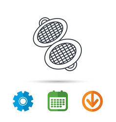Waffle iron icon kitchen baking tool sign vector
