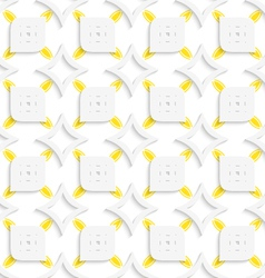 White and yellow geometrical perforated leaves and vector