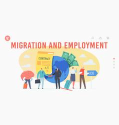 work migration and employment drain brain landing vector image