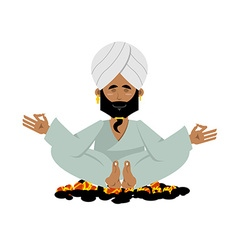 Yogi on coals Indian yogi sitting on hot coals vector